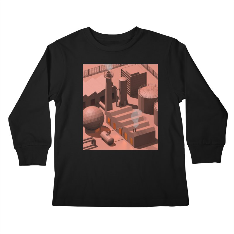 Low Poly Industry Kids Longsleeve T-Shirt by Rickard Arvius