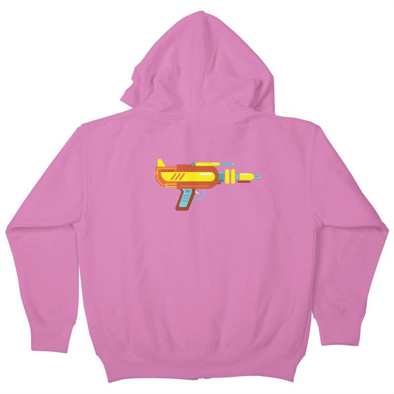 Space Gun One Kids Zip-Up Hoody by Rick Hill Studio's Artist Shop