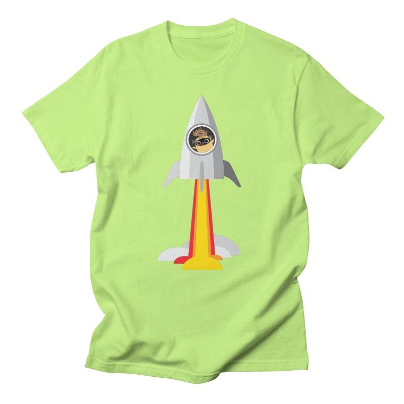 Pug & Poo Blasting Off! Men's T-Shirt by Rick Hill Studio's Artist Shop