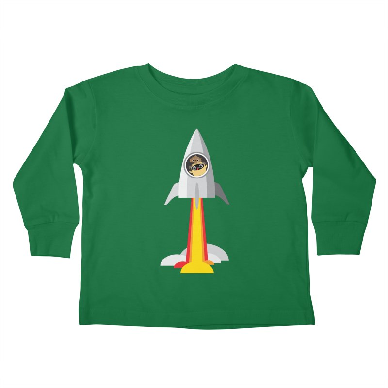 Pug & Poo Blasting Off! Kids Toddler Longsleeve T-Shirt by Rick Hill Studio's Artist Shop