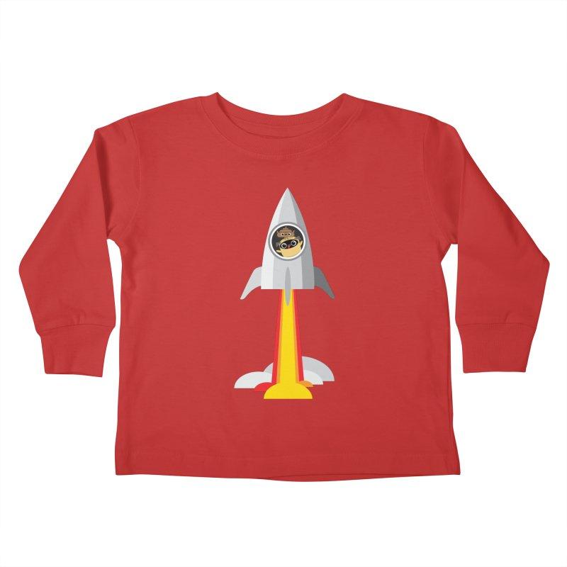 Pug & Poo Blasting Off! Kids Toddler Longsleeve T-Shirt by Rick Hill Studio's Artist Shop