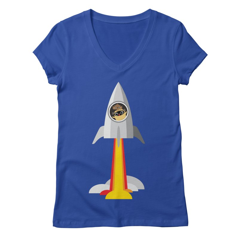 Pug & Poo Blasting Off! Women's V-Neck by Rick Hill Studio's Artist Shop