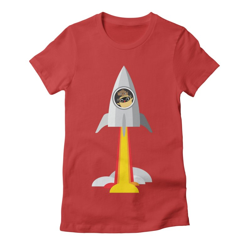 Pug & Poo Blasting Off! Women's Fitted T-Shirt by Rick Hill Studio's Artist Shop