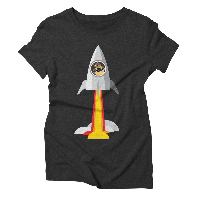 Pug & Poo Blasting Off! Women's Triblend T-shirt by Rick Hill Studio's Artist Shop