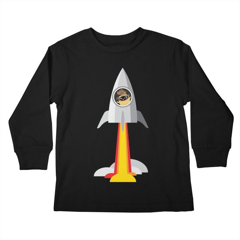 Pug & Poo Blasting Off! Kids Longsleeve T-Shirt by Rick Hill Studio's Artist Shop