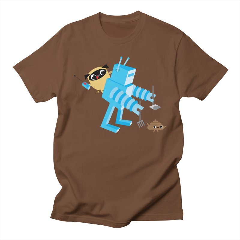Pug & Poo Robot Fun Time in Men's Regular T-Shirt Brown by Rick Hill Studio's Artist Shop