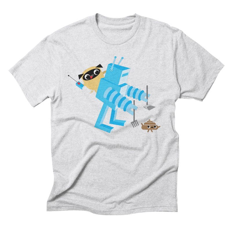 Pug & Poo Robot Fun Time Men's Triblend T-shirt by Rick Hill Studio's Artist Shop