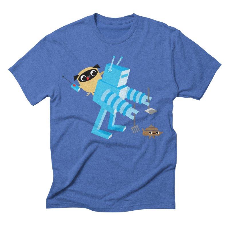 Pug & Poo Robot Fun Time Men's Triblend T-shirt by Rick Hill Studio's Artist Shop
