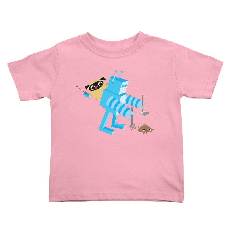 Pug & Poo Robot Fun Time Kids Toddler T-Shirt by Rick Hill Studio's Artist Shop