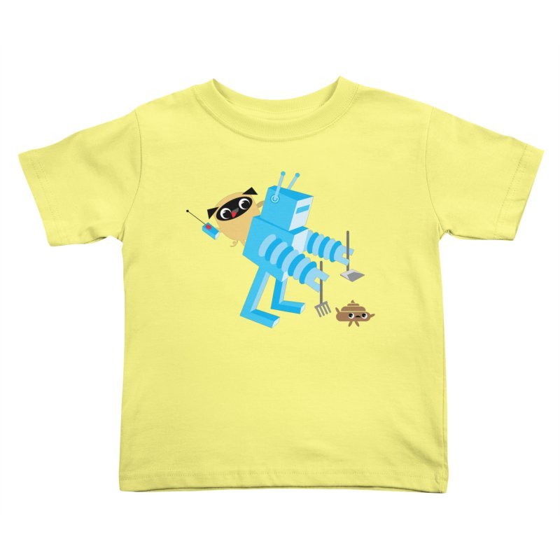 Pug & Poo Robot Fun Time Kids Toddler T-Shirt by Rick Hill Studio's Artist Shop