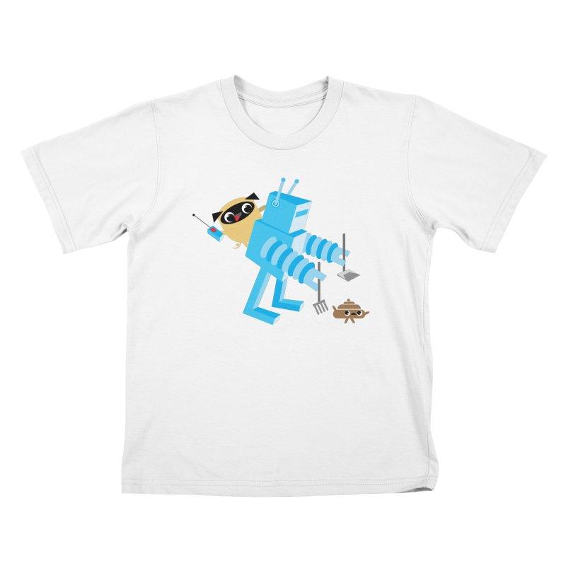 Pug & Poo Robot Fun Time Kids T-Shirt by Rick Hill Studio's Artist Shop