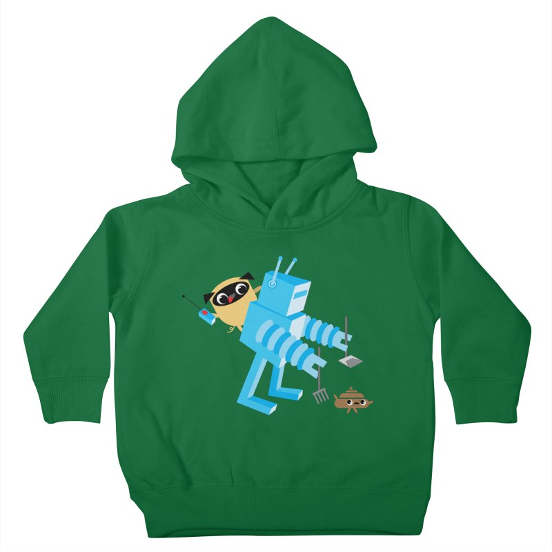 Pug & Poo Robot Fun Time Kids Toddler Pullover Hoody by Rick Hill Studio's Artist Shop
