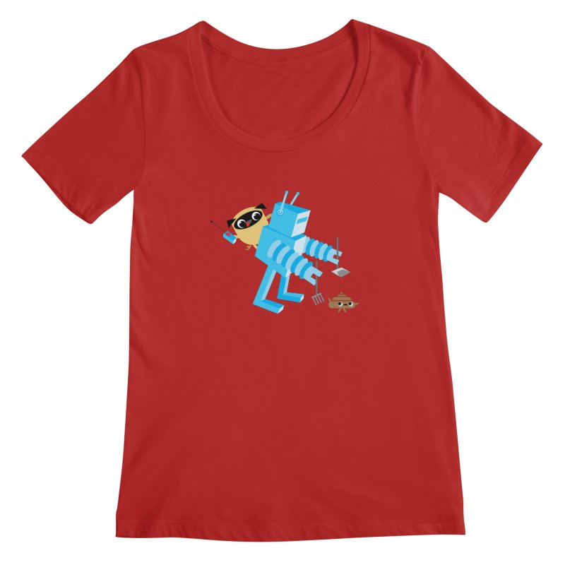 Pug & Poo Robot Fun Time Women's Scoopneck by Rick Hill Studio's Artist Shop