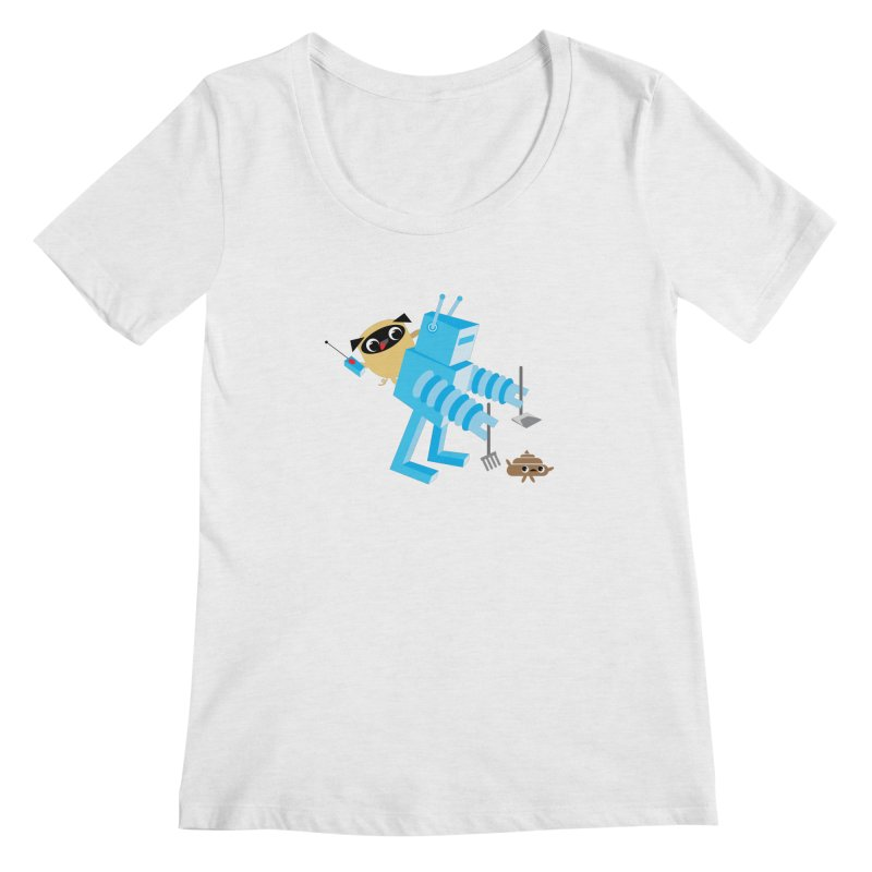 Pug & Poo Robot Fun Time Women's Regular Scoop Neck by Rick Hill Studio's Artist Shop
