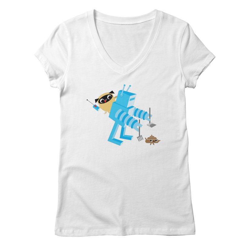 Pug & Poo Robot Fun Time Women's V-Neck by Rick Hill Studio's Artist Shop