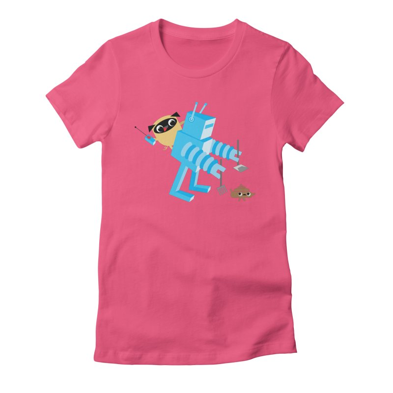 Pug & Poo Robot Fun Time Women's Fitted T-Shirt by Rick Hill Studio's Artist Shop