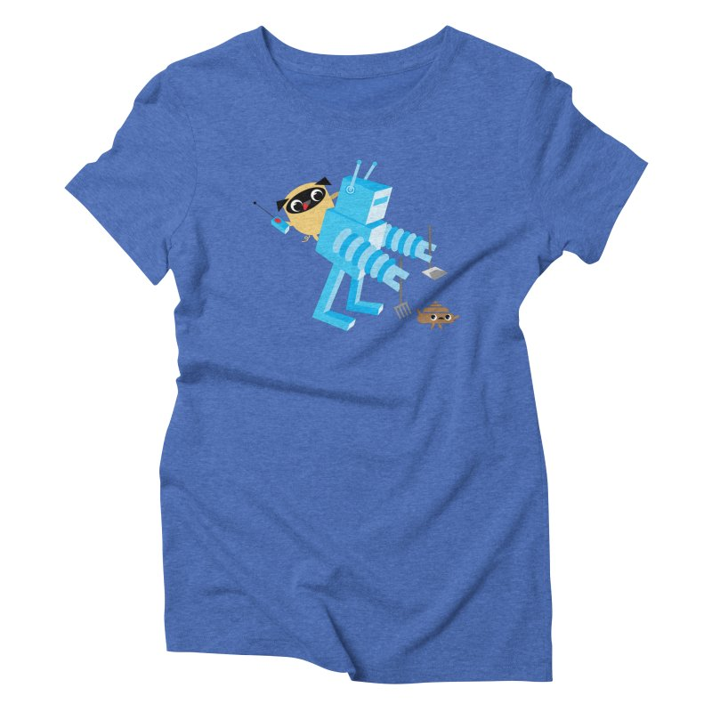 Pug & Poo Robot Fun Time Women's Triblend T-shirt by Rick Hill Studio's Artist Shop