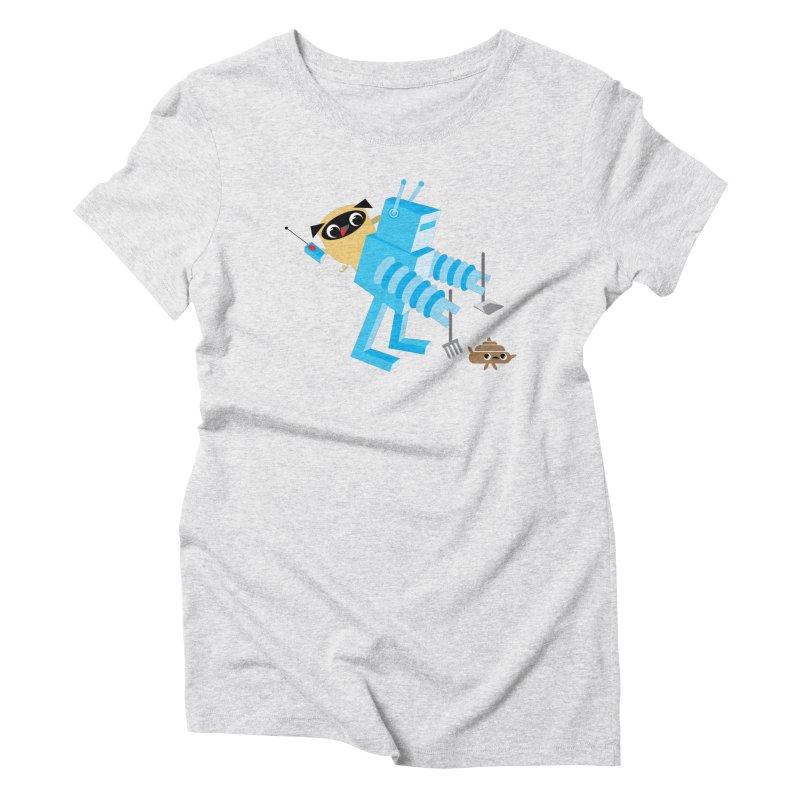 Pug & Poo Robot Fun Time Women's Triblend T-Shirt by Rick Hill Studio's Artist Shop