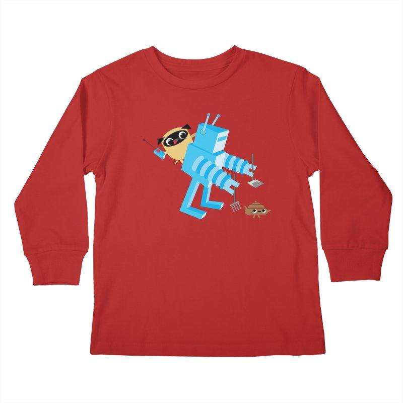 Pug & Poo Robot Fun Time Kids Longsleeve T-Shirt by Rick Hill Studio's Artist Shop