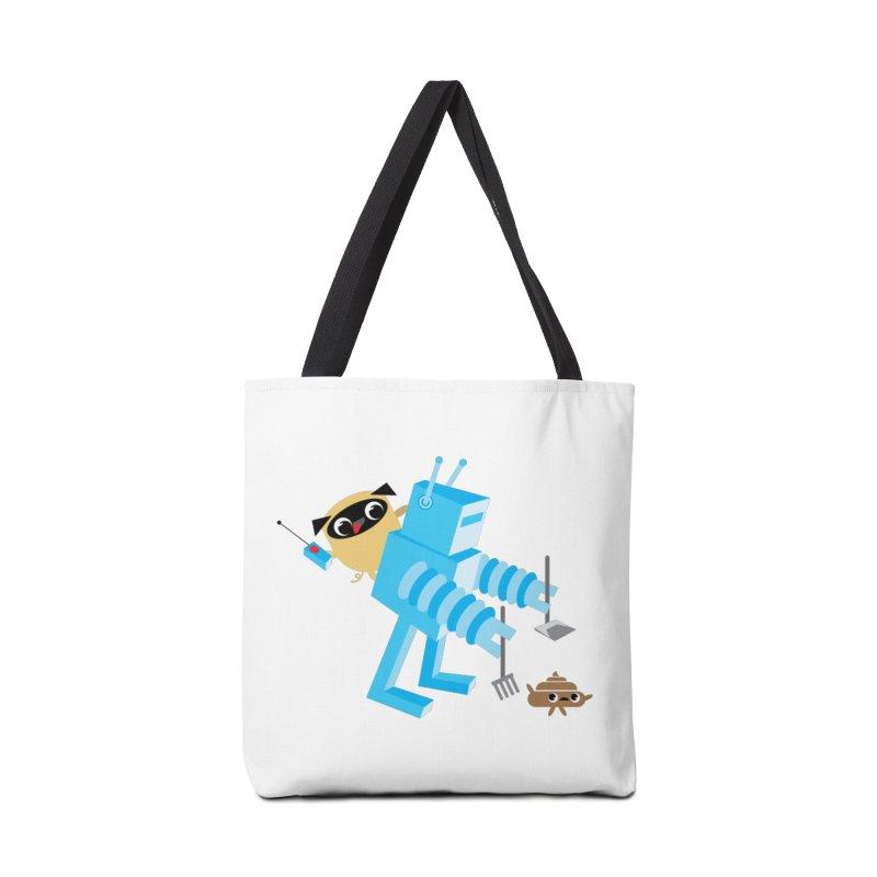 Pug & Poo Robot Fun Time Accessories Tote Bag Bag by Rick Hill Studio's Artist Shop
