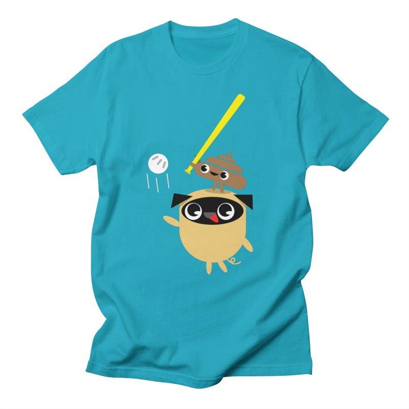 Pug & Poo Playing Wiffle Ball Men's T-shirt by Rick Hill Studio's Artist Shop