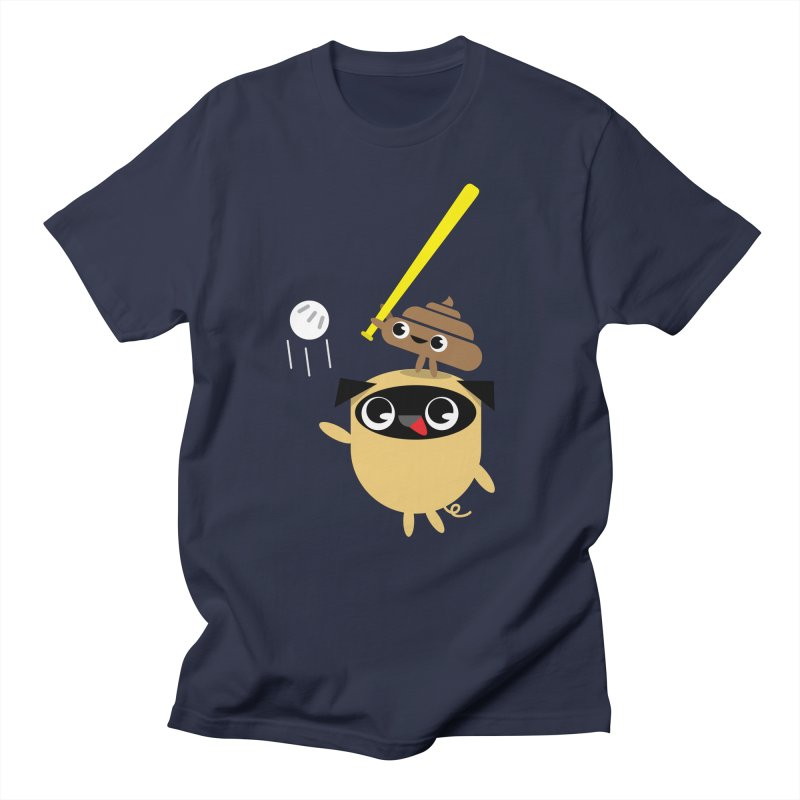 Pug & Poo Playing Wiffle Ball in Men's Regular T-Shirt Navy by Rick Hill Studio's Artist Shop
