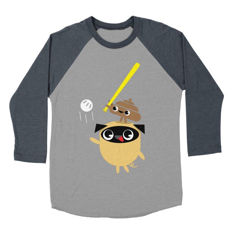 Pug & Poo Playing Wiffle Ball Men's Baseball Triblend Longsleeve T-Shirt by Rick Hill Studio's Artist Shop