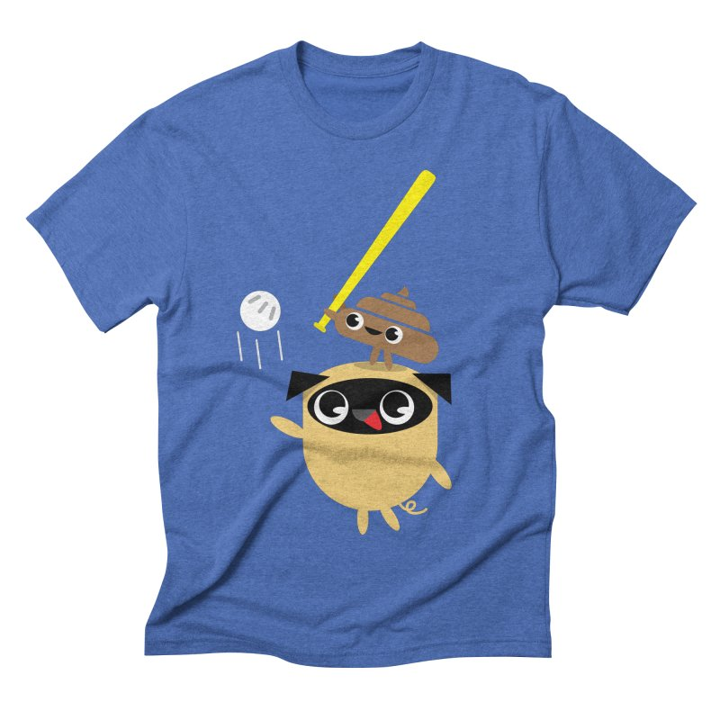 Pug & Poo Playing Wiffle Ball Men's Triblend T-shirt by Rick Hill Studio's Artist Shop