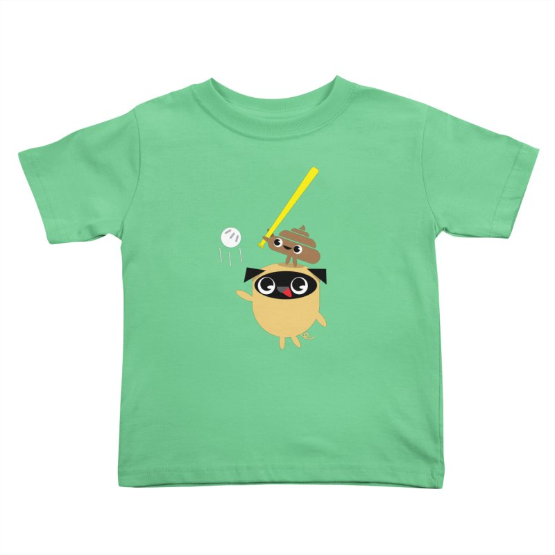 Pug & Poo Playing Wiffle Ball Kids Toddler T-Shirt by Rick Hill Studio's Artist Shop