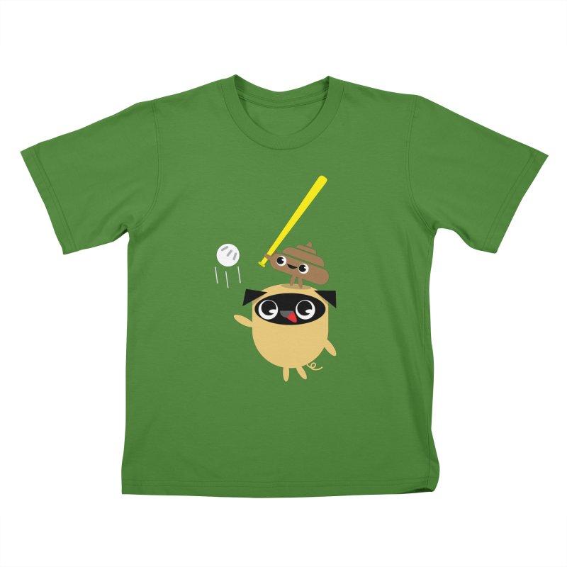 Pug & Poo Playing Wiffle Ball Kids T-Shirt by Rick Hill Studio's Artist Shop