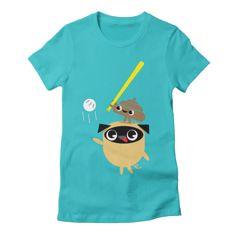 Pug & Poo Playing Wiffle Ball Women's Fitted T-Shirt by Rick Hill Studio's Artist Shop