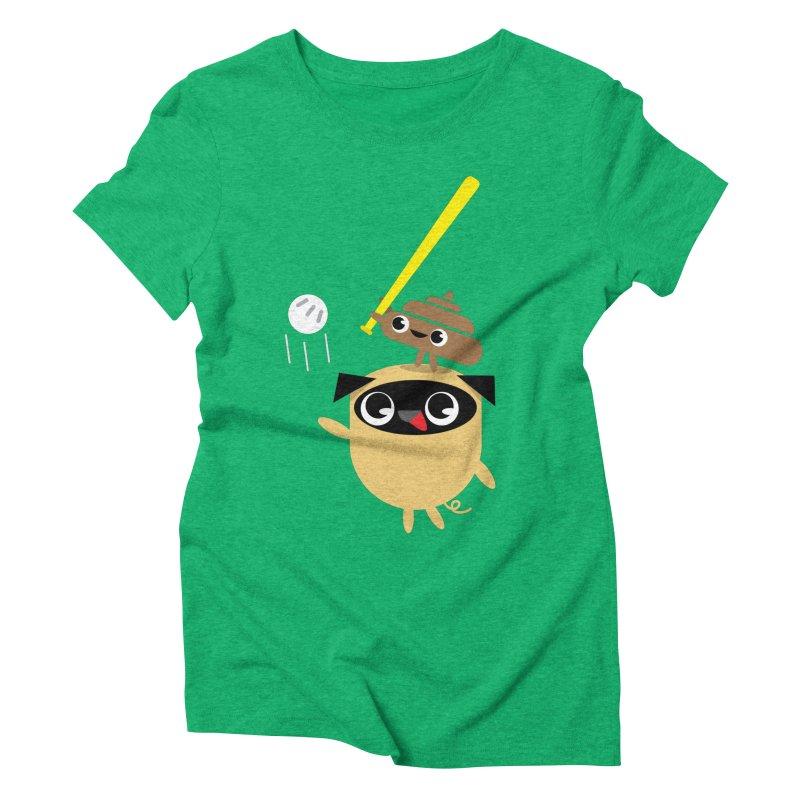 Pug & Poo Playing Wiffle Ball Women's Triblend T-Shirt by Rick Hill Studio's Artist Shop