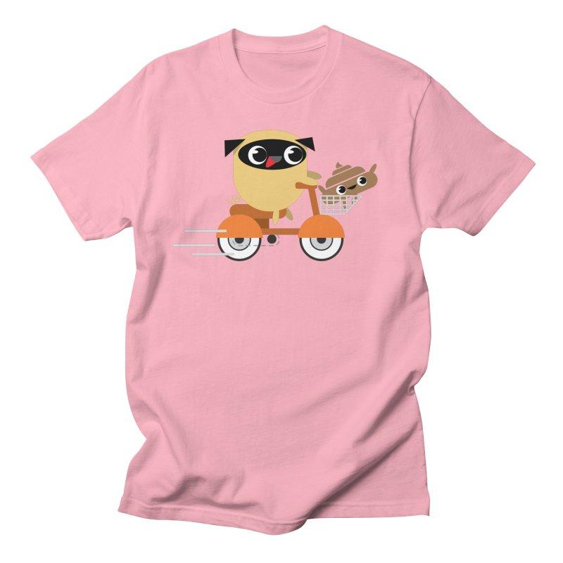 Pug & Poo Scootin' Around Men's T-shirt by Rick Hill Studio's Artist Shop