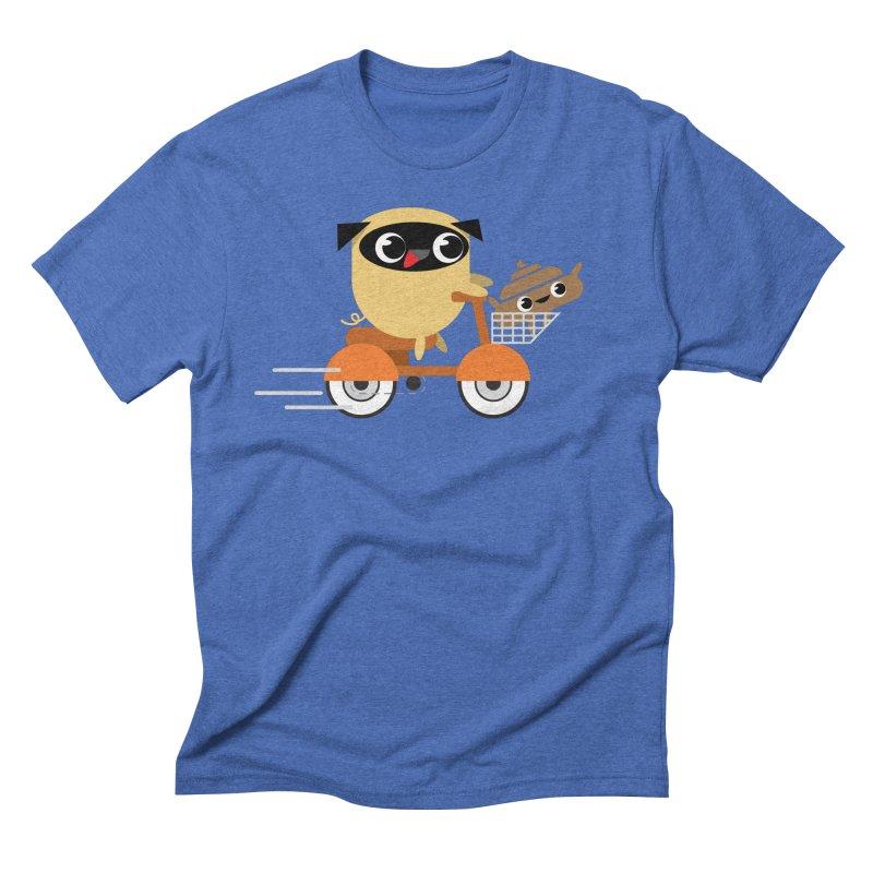 Pug & Poo Scootin' Around Men's Triblend T-Shirt by Rick Hill Studio's Artist Shop