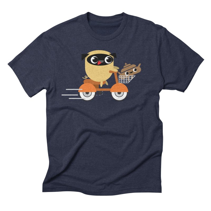 Pug & Poo Scootin' Around Men's Triblend T-shirt by Rick Hill Studio's Artist Shop