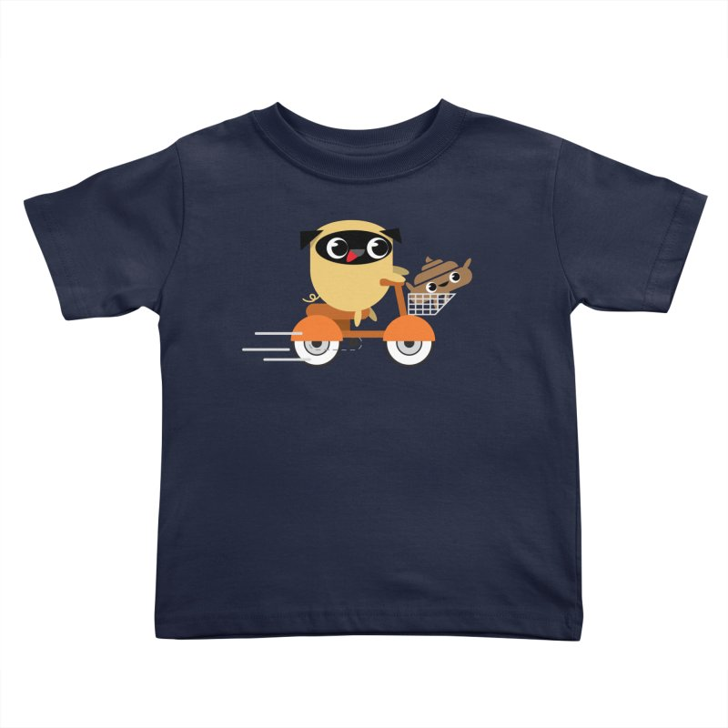 Pug & Poo Scootin' Around Kids Toddler T-Shirt by Rick Hill Studio's Artist Shop