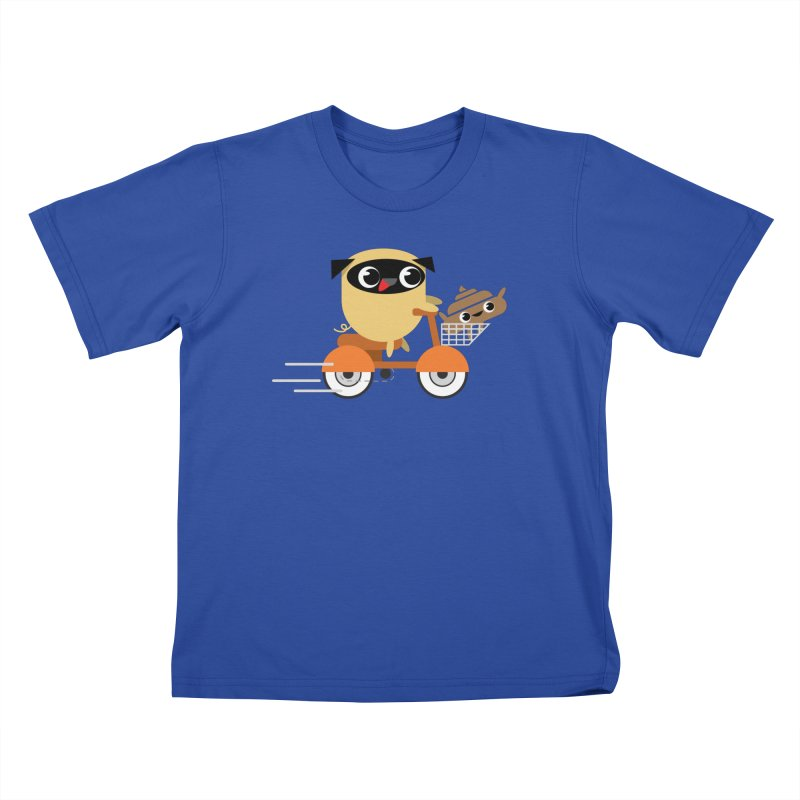 Pug & Poo Scootin' Around Kids T-shirt by Rick Hill Studio's Artist Shop