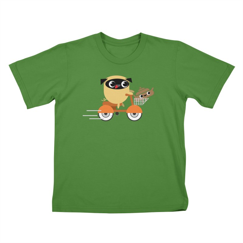 Pug & Poo Scootin' Around Kids T-Shirt by Rick Hill Studio's Artist Shop