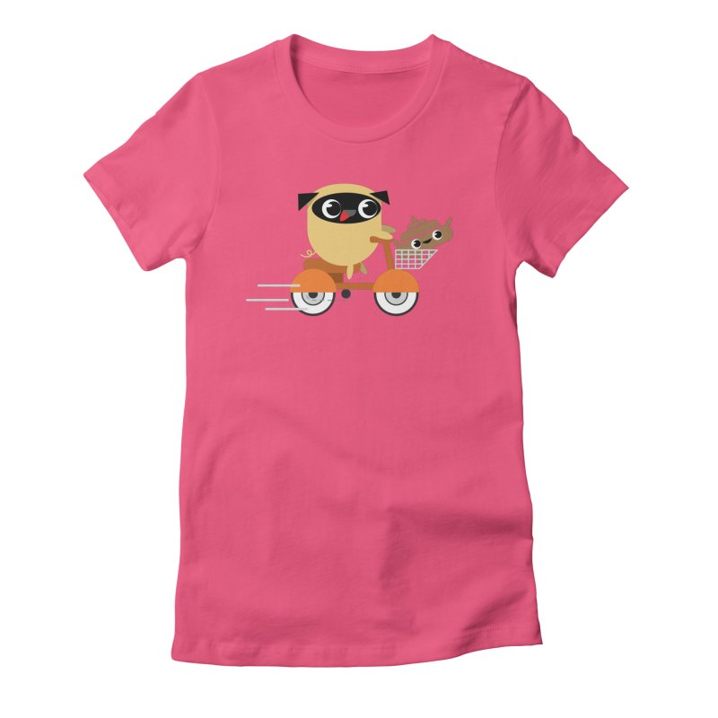 Pug & Poo Scootin' Around Women's Fitted T-Shirt by Rick Hill Studio's Artist Shop
