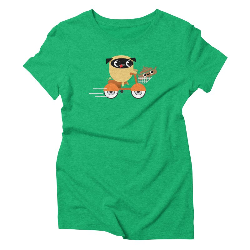 Pug & Poo Scootin' Around Women's Triblend T-Shirt by Rick Hill Studio's Artist Shop