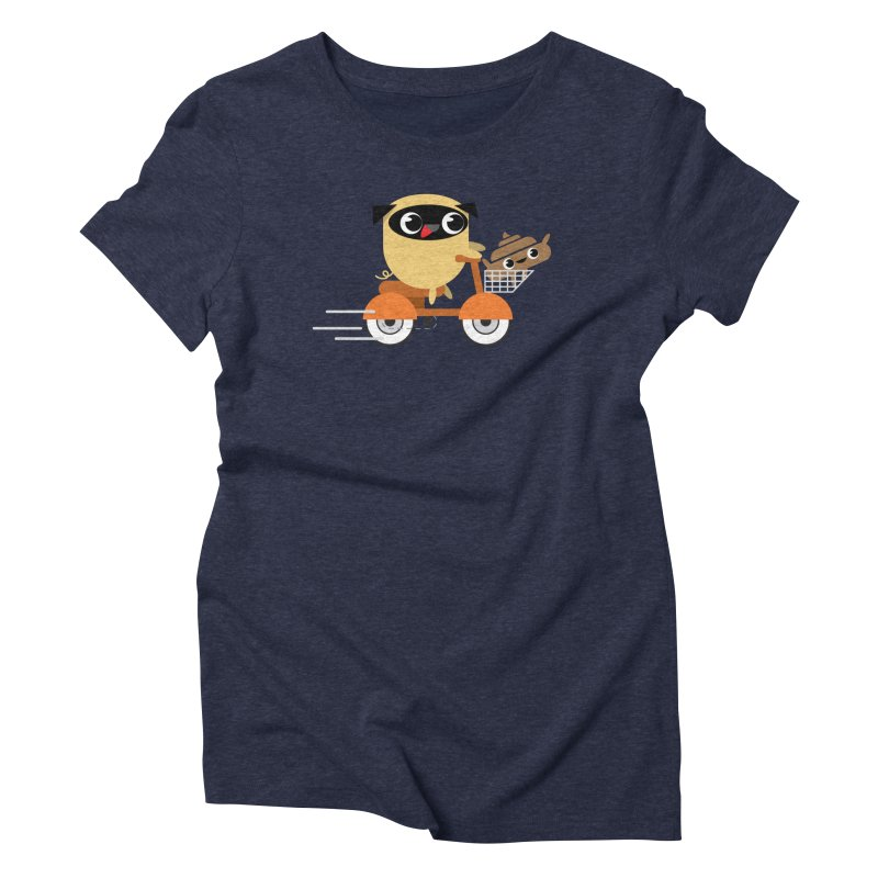 Pug & Poo Scootin' Around Women's Triblend T-shirt by Rick Hill Studio's Artist Shop
