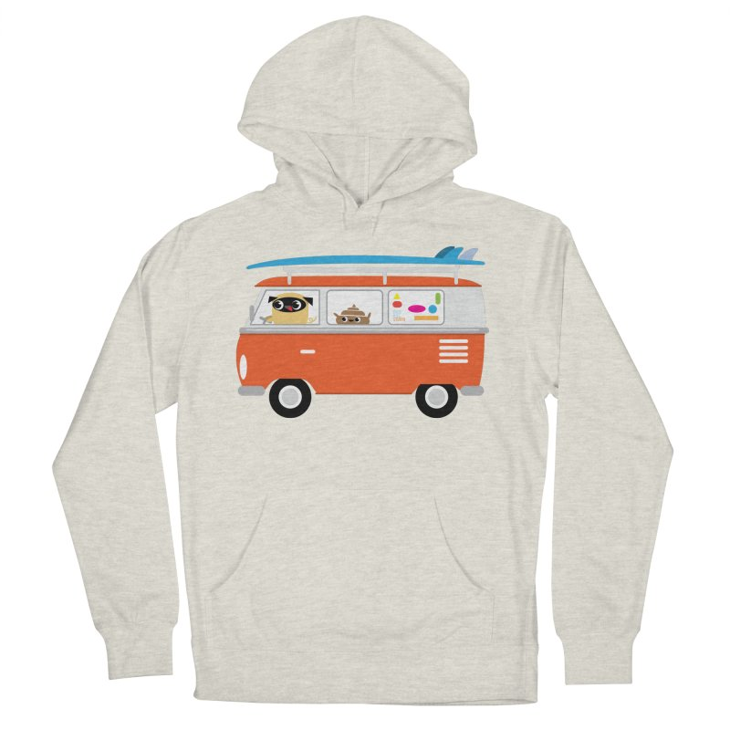 Pug & Poo Surfs Up Women's Pullover Hoody by Rick Hill Studio's Artist Shop