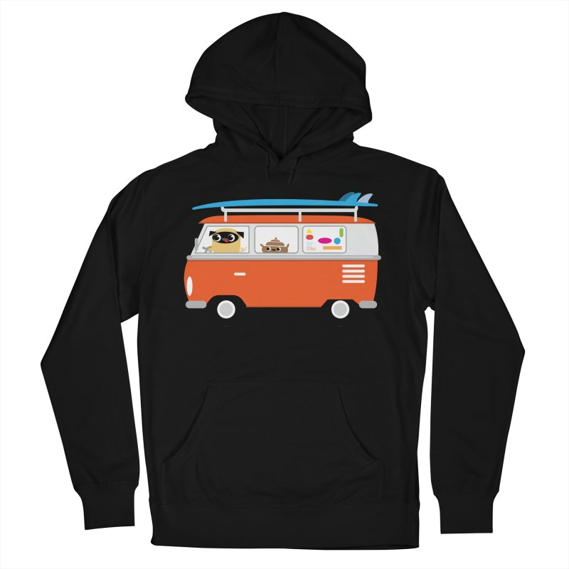 Pug & Poo Surfs Up Men's Pullover Hoody by Rick Hill Studio's Artist Shop