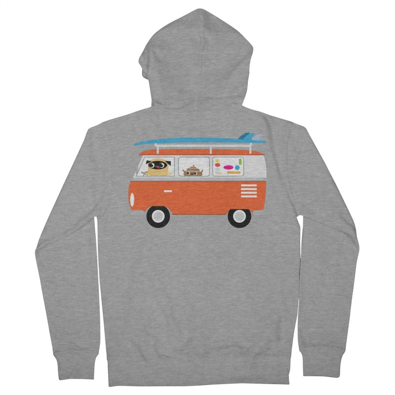 Pug & Poo Surfs Up Women's French Terry Zip-Up Hoody by Rick Hill Studio's Artist Shop