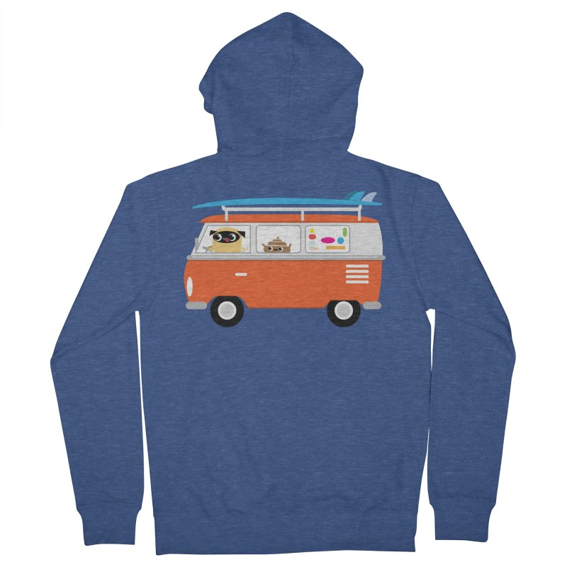 Pug & Poo Surfs Up Men's Zip-Up Hoody by Rick Hill Studio's Artist Shop
