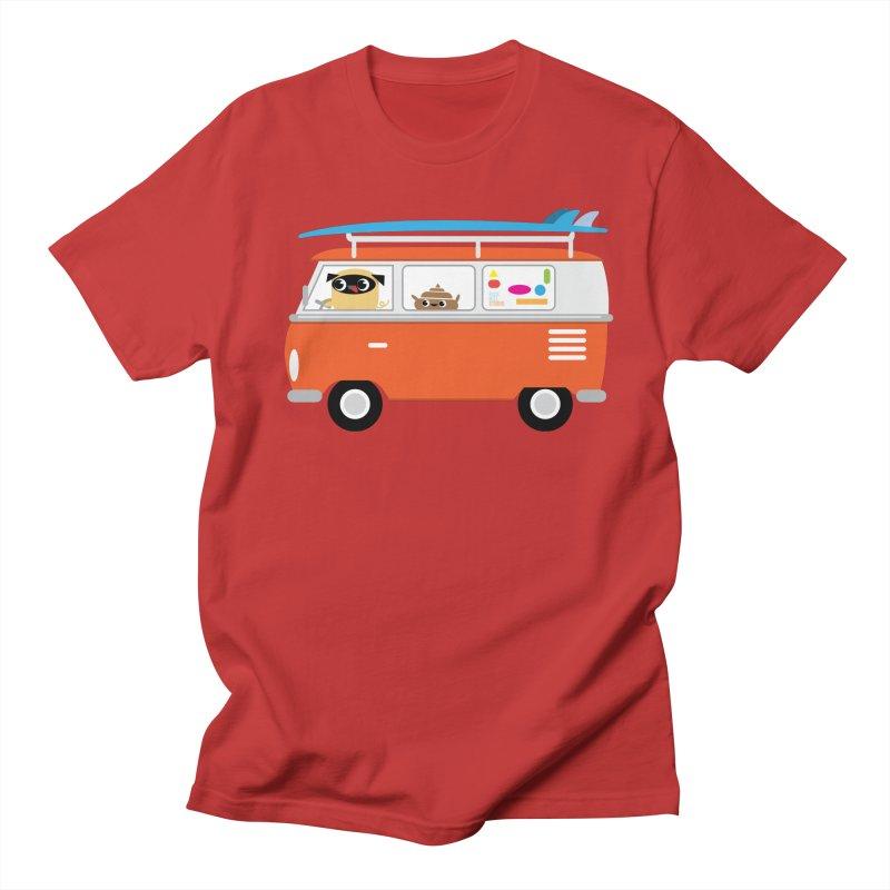Pug & Poo Surfs Up Men's T-Shirt by Rick Hill Studio's Artist Shop