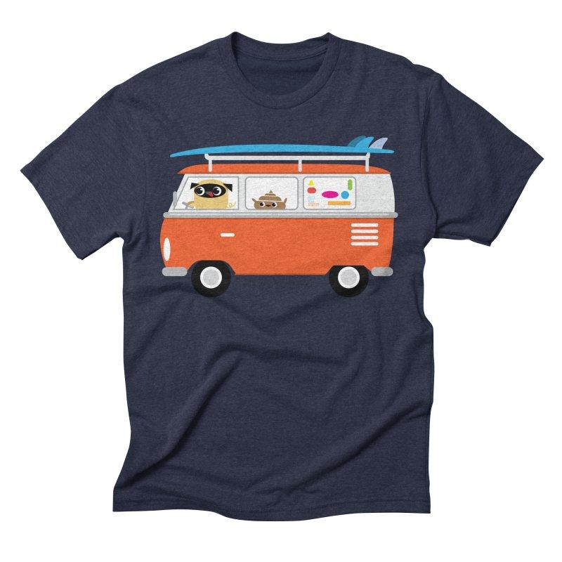 Pug & Poo Surfs Up Men's Triblend T-shirt by Rick Hill Studio's Artist Shop