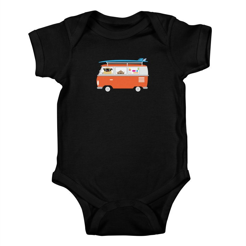 Pug & Poo Surfs Up Kids Baby Bodysuit by Rick Hill Studio's Artist Shop