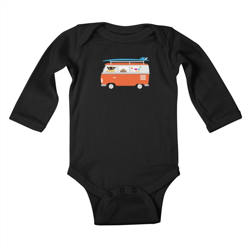 Pug & Poo Surfs Up Kids Baby Longsleeve Bodysuit by Rick Hill Studio's Artist Shop
