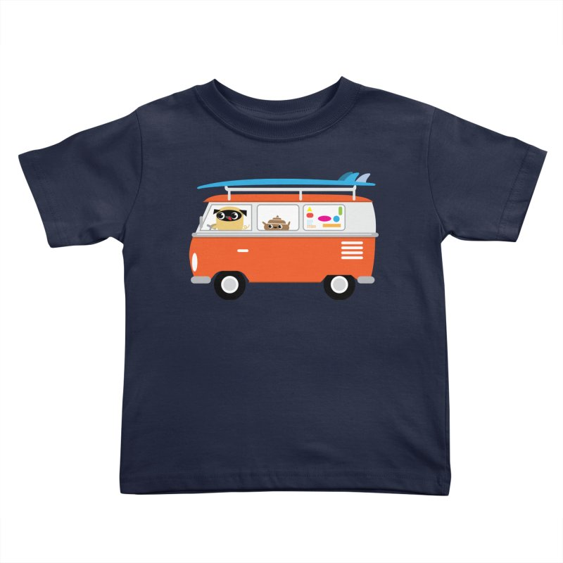 Pug & Poo Surfs Up Kids Toddler T-Shirt by Rick Hill Studio's Artist Shop